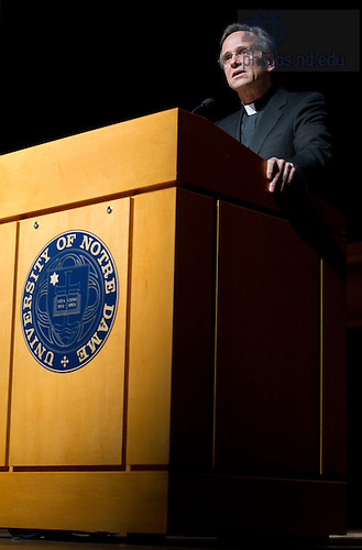 "September 28, 2011; Rev. John I. Jenkins, C.S.C., president of Notre Dame introduces participants at the opening of their discussion titled, ""The Conversation: Developing the Schools Our Children Deserve"" part of the 2011-12 Notre Dame Forum at the Leighton Concert Hall. Photo by Barbara Johnston/University of Notre Dame"