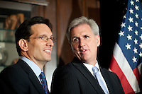 House Majority Whip Kevin McCarthy (R-CA) chats with House Majority Leader Eric Cantor (R-VA) at a press availability at RNC headquarters in Washington on Wednesday, May 15th, 2012. (Photo by Jay Westcott/Politico)