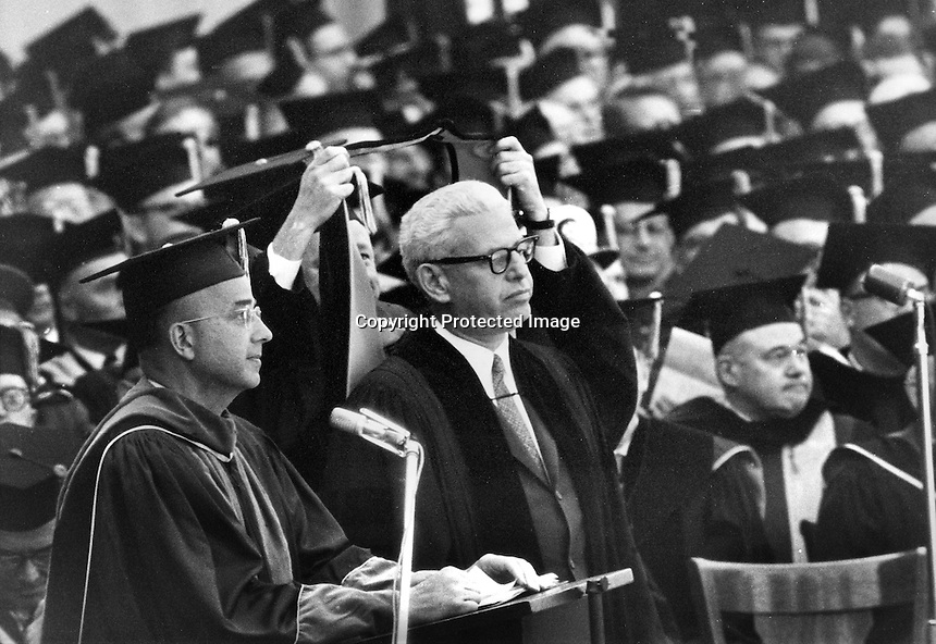 University of California: Supreme Court Justice Arthur Goldberg recieves an Honorary Degree from President Clark Kerr and the University of California.<br />