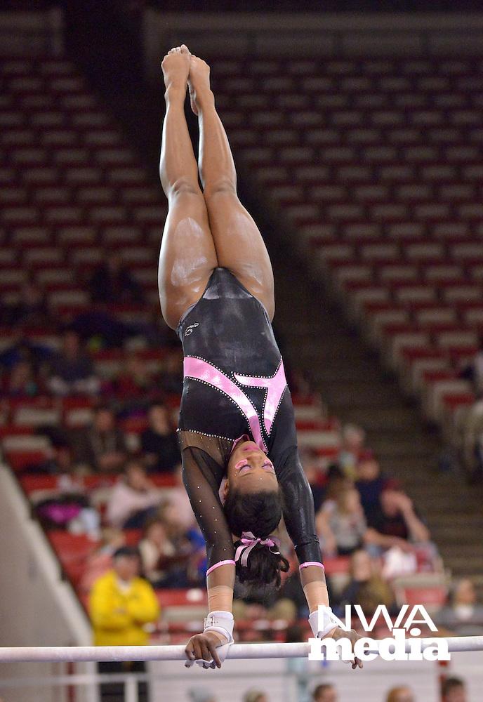 NWA Democrat-Gazette/BEN GOFF -- 02/27/15 Keara Glover of Arkansas competes during the meet against Missouri in Barnhill Arena in Fayetteville on Friday Feb. 27, 2015.