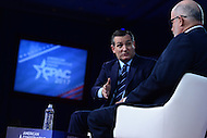 National Harbor, MD - February 23, 2017: U.S. Senator Ted Cruz speaks to attendees of the Conservative Political Action Conference during a conversation moderated by Mark Levin of the Conservative Review at the Gaylord Hotel in National Harbor, MD, February 23, 2017.  (Photo by Don Baxter/Media Images International)