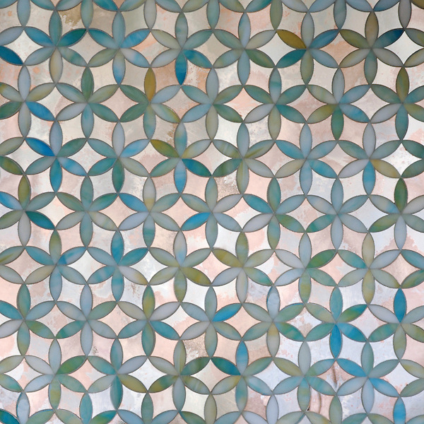 Fiona, a waterjet jewel glass mosaic, shown in Aquamarine jewel glass and Dawn mirror, is part of the Silk Road Collection by Sara Baldwin for New Ravenna.