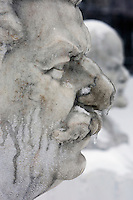 Moscow, Russia, 26/12//2010..Statues of Soviet leaders Joseph Stalin and Vladimir Lenin encased in ice after a combination of sudden temperature changes and  freezing rain left large parts of Moscow under a sheet of ice..