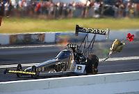 Jun 11, 2016; Englishtown, NJ, USA; NHRA top fuel driver Tony Schumacher during qualifying for the Summernationals at Old Bridge Township Raceway Park. Mandatory Credit: Mark J. Rebilas-USA TODAY Sports