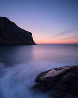 Twilight over coastline at Horseid beach, Moskenesøy, Lofoten Islands, Norway