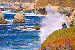 Mother and kids (ages 5 & 2) watching  heavy surf from Soberanes Point, Garrapata State Park, California USA
