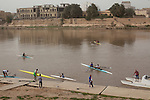 BAGHDAD, IRAQ: The Iraqi olympic rowing team put their boats in the Tigris river...Despite dangers like kidnappings, bombs, and assassinations, Iraq's olympic rowing team prepares for the London 2012 Summer Olympics...Photo by Ali Arkady/Metrography