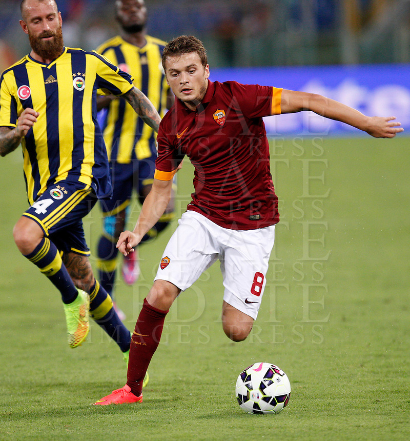 Calcio, amichevole Roma vs Fenerbahce. Roma, stadio Olimpico, 19 agosto 2014.<br /> RRoma forward Adem Ljajic, of Serbia, in action during the friendly match between AS Roma and Fenerbache at Rome's Olympic stadium, 19 August 2014.<br /> UPDATE IMAGES PRESS/Riccardo De Luca