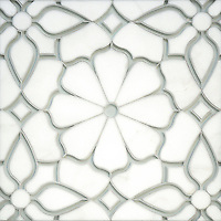 Estelle, a handmade mosaic shown in Venetian honed Thassos and Tropical White glass. Designed by Sara Baldwin Designs for New Ravenna.<br />