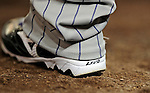 16 August 2008: Colorado Rockies' starting pitcher Livan Hernandez' cleats are featured as he stands in the on deck circle during a game against the Washington Nationals at Nationals Park in Washington, DC.  The Rockies defeated the Nationals 13-6, handing the last place Nationals their 9th consecutive loss. ..Mandatory Photo Credit: Ed Wolfstein Photo