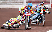 Heat 6: Adam Sheppard (blue), Nial Strudwick (white) and Nick Laurence (yellow) - Lakeside Young Hammers vs Mildenhall Fen Tiger Cubs, Anglian Junior League Speedway at the Arena Essex Raceway, Pufleet - 04/05/12 - MANDATORY CREDIT: Rob Newell/TGSPHOTO - Self billing applies where appropriate - 0845 094 6026 - contact@tgsphoto.co.uk - NO UNPAID USE..