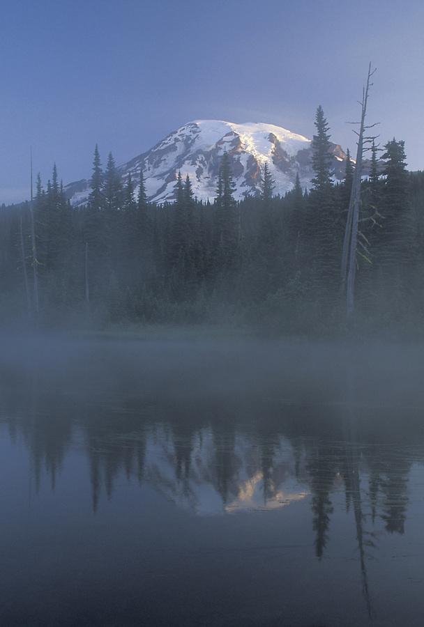 Mount Rainier reflected in Reflection Lake, Mount Rainier National Park, Washington