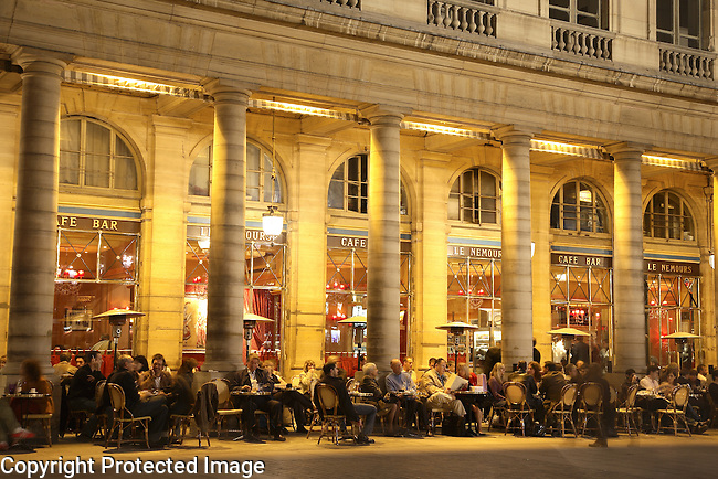 Cafe Royal part of the Palais Royal Complex at Dusk, Paris, France