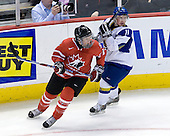 Ryan Ellis (Canada - 8), Mikhail Lazorenko (Kazakhstan - 11) - Canada defeated Kazakhstan 15-0 on Sunday, December 28, 2008, at Scotiabank Place in Kanata (Ottawa), Ontario, during the 2009 World Junior Championship.