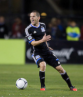 Sam Cronin of Earthquakes argues with the referee about a bad call during the game against LA Galaxy at Buck Shaw Stadium in Santa Clara, California on November 7th, 2012.   LA Galaxy defeated San Jose Earthquakes, 3-1.