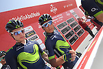 Nairo Quintana (COL) Movistar Team and team mates sign on before the start of Stage 1 Emirates Motor Company Stage of the 2017 Abu Dhabi Tour, running 189km from Madinat Zayed through the desert and back to Madinat Zayed, Abu Dhabi. 23rd February 2017<br /> Picture: ANSA/Matteo Bazzi | Newsfile<br /> <br /> <br /> All photos usage must carry mandatory copyright credit (&copy; Newsfile | ANSA)