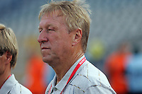 Germany's Head Coach Horst Hrubesch stands on the field before the match against Brazil during the FIFA Under 20 World Cup Quarter-final match at the Cairo International Stadium in Cairo, Egypt, on October 10, 2009. Germany lost 2-1 in overtime play.