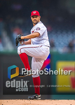 28 April 2016: Washington Nationals pitcher Tanner Roark on the mound against the Philadelphia Phillies at Nationals Park in Washington, DC. Roark pitched 7 shut out innings, but the Phillies prevailed to shut out the Nationals 3-0 and sweep their mid-week, 3-game series. Mandatory Credit: Ed Wolfstein Photo *** RAW (NEF) Image File Available ***