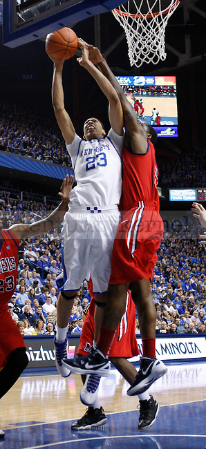 Freshman forward Anthony Davis shoots the ball during the first half of the game against the University of Mississippi in Lexington, Ky., on Saturday, Feb. 18, 2012. Photo by Tessa Lighty | Staff