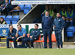 St Johnstone v Partick Thistle....17.10.15  SPFL     McDiarmid Park, Perth<br /> Tommy Wright and Callum Davidson look on<br /> Picture by Graeme Hart.<br /> Copyright Perthshire Picture Agency<br /> Tel: 01738 623350  Mobile: 07990 594431