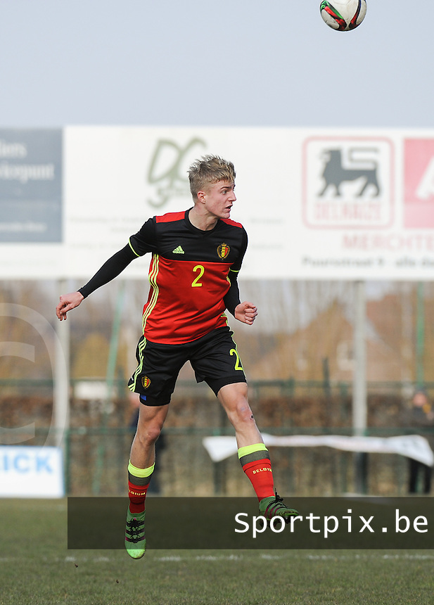 20160316 - Merchtem , BELGIUM : Belgian Sebastiaan Bornauw pictured during the soccer match between the under 17 teams of  Belgium and Spain , on the third and last matchday in group 8 of the UEFA Under17 Elite rounds at FC Merchtem 2000 stadion in Merchtem , Belgium. Wednesday 16 th March 2016 . PHOTO DAVID CATRY