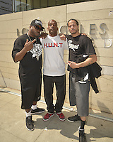 LOS ANGELES, CA - JULY 08: Rappers Daz Dillinger, Kam and Andre Truth attend the UNITY Protest Mach at the Los Angeles Police Department in Downtown Los Angeles on July 8, 2016 in Los Angeles, California. Credits: Koi Sojer/Snap'N U Photos/MediaPunch