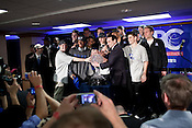 April 5, 2010. Indianapolis, Indiana.. The Duke Blue Devils beat the Butler Bulldogs to take the 2010 NCAA men's basketball title by a score of 61 to 59.. The victorious Duke team accepts the NABC trophy at the post game party.