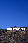 The iconic Hollywood Sign in the Hollywood Hills above Los Angeles, CA