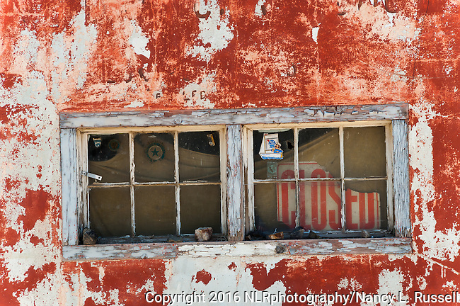 Paint pealing off of an old building in Luning, NV