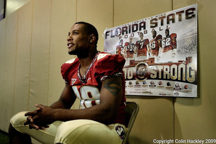 TALLAHASSEE, FL. 8/9/09-FSU-WHITE 0809 CH02-Florida State defensive end Markus White takes questions during media day Sunday in Tallahassee...COLIN HACKLEY PHOTO