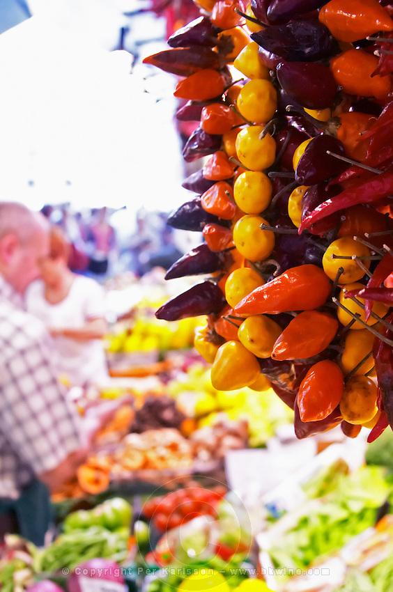 On a street market. Peppers. Barcelona, Catalonia, Spain.