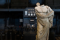 Statue of Asclepius — Greek god of medicine. A series of sculptures with various provenances bears witness to two phenomena very wide-spread in Ancient Rome: the habit of collecting antiques and the diffusion of Greek models through copies of the original sculpture. Hall of the Machines. Rome, Italy. Mar. 07, 2015