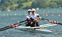 Hamilton, NEW ZEALAND. CAN LW2X. Bow, Lindsay JENNERICH and Tracy CAMERON, move away from the stage in their heat of the Women's Lightweight Double Sculls.  2010 World Rowing Championship on Lake Karapiro Saturday  30/10/2010. [Mandatory Credit Peter Spurrier:Intersport Images].