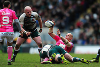 Sergio Parisse of Stade Francais offloads the ball after being tackled to ground. European Rugby Champions Cup quarter final, between Leicester Tigers and Stade Francais on April 10, 2016 at Welford Road in Leicester, England. Photo by: Patrick Khachfe / JMP