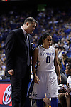 UK head coach Matthew Mitchell talks to guard Jennifer O'Neill during the second half of the women's basketball game v. Depaul University in Rupp Arena in Lexington, Ky., on Sunday, December 7, 2012. Photo by Genevieve Adams | Staff