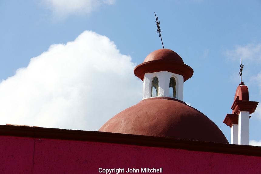 Church dome near Mercado 28 souvenirs and handicrafts market in  Cancun, Mexico      .