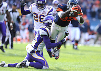 The Bears wide receiver Devin Hester leaps into the end zone for a touchdown against the Vikings Ryan Cook in the second quarter of the Bears 27-13 win over the Vikings at Soldier Field in Chicago on Sunday, November 14, 2010.  |  Jonathan Miano~Sun Times Media