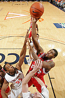NC State's Richard Howell_Virginia held North Carolina State scoreless for more than 7 minutes on the way to a 59-47 victory Wednesday night at the John Paul Jones Arena in Charlottesville, VA. Virginia (14-6, 5-2 Atlantic Coast Conference) regained a share of first place in the conference. (Photo/Andrew Shurtleff)....