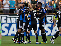 Chris Wondolowski of Earthquakes celebrates with teammates after scoring a goal during the first half of the game against the WhiteCaps at Buck Shaw Stadium in Santa Clara, California on July 20th, 2011.  Earthquakes and WhiteCaps are tied 1-1 at halftime.