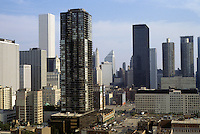"""Chicago: Panorama from high in Lawson """"Y"""". Looking southeast from Chicago Ave. & Dearborn. Photo '88."""