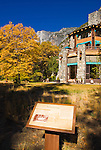 Interpretive sign and fall color at the Ahwahnee Hotel, Yosemite National Park, California