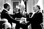 Signing of Camp David Peace Accords Egyptian President Anwar El  Sadat President Jimmy Carter and Israeli Prime Minister Menachem Began on September 17 1978, Anwr Sadat, Menachem Begin, Jimmy Carter, Camp David Accords, September 17, 1978,