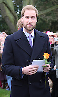 The Queen and members of the Royal family attend the Morning Service on Christmas Day at Sandringham Church..Prince William attends