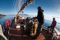 Captain Greg Shea Steers SV Maple Leaf, Gulf Islands, British Columbia, Canada