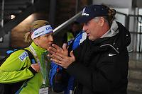 SCHAATSEN: BERLIJN: Sportforum Berlin, 05-03-2016, WK Allround, Claudia Pechstein (GER), Peter Mueller (Trainer/Coach), ©foto Martin de Jong