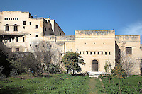 Gardens and facade of the Glaoui Palace, early 19th century, in Fes, Fes-Boulemane, Northern Morocco. Thami Glaoui, Pasha of Marrakech, used this as his Fes residence. The complex consists of 30 fountains, 17 houses, 2 hammams, an oil mill, a mausoleum and cemetery, a madrasa, gardens and stables. Picture by Manuel Cohen