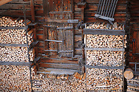 Natural texture of wood outside a swiss chalet - Grindelwald, Swiss Alps, Switzerland