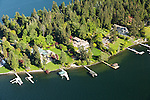 aerial photo of luxury waterfront homes in Hunts Point, Washington