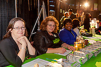 FoodShare's Fiona Bowser, Ulla Knowles and Delsie Hyatt at the Welcome Table at FoodShare Toronto's Recipe for Change, February 28,  2013