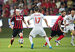 Spartak Trnava v St Johnstone...07.08.14  Europa League Qualifier 3rd Round<br /> Tam Scobbie lays the ball into the path of Stevie May for saints goal<br /> Picture by Graeme Hart.<br /> Copyright Perthshire Picture Agency<br /> Tel: 01738 623350  Mobile: 07990 594431